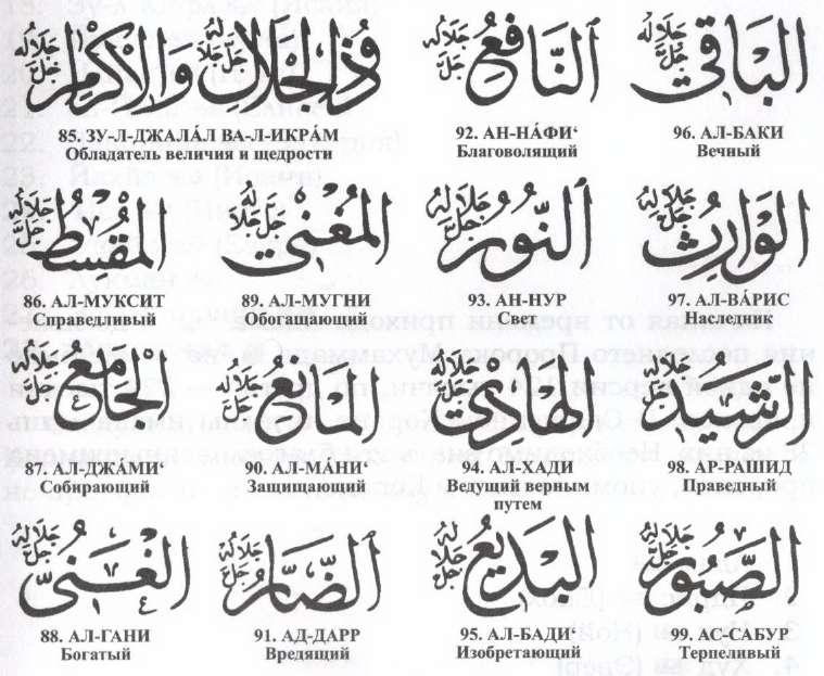 Толкование 99 имен Аллаха, таблица и фотографии