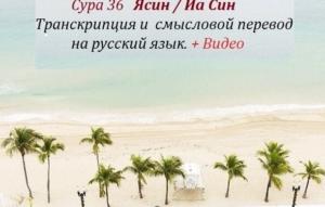 Сура Ясин: перевод на русский язык, транскрипция 36 суры и видео